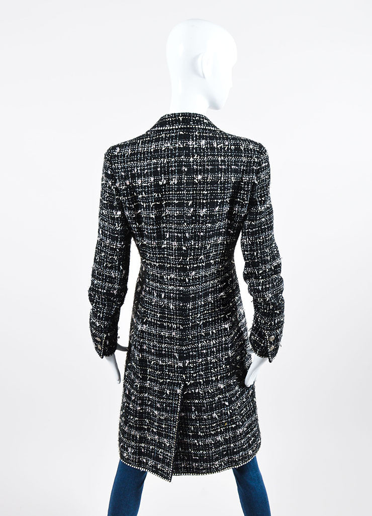 "Black, White, and Pink Chanel Cotton Blend Tweed ""No. 5"" Bottle Emblem Coat Backview"
