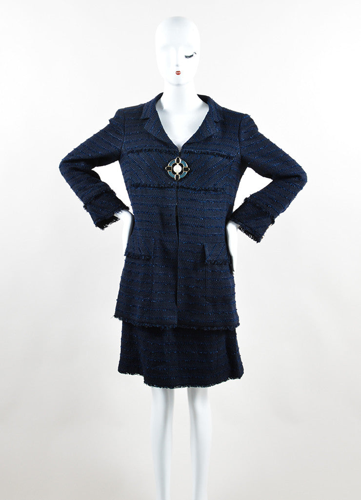 Chanel Navy Cotton and Linen Tweed Faux Pearl Button Skirt Suit Frontview