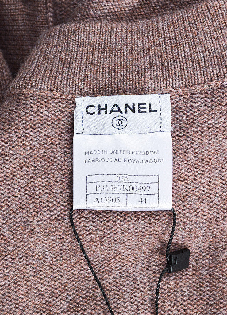 Chanel Purple and Brown Cashmere Rose Gold 'CC' Button Cardigan Sweater Brand