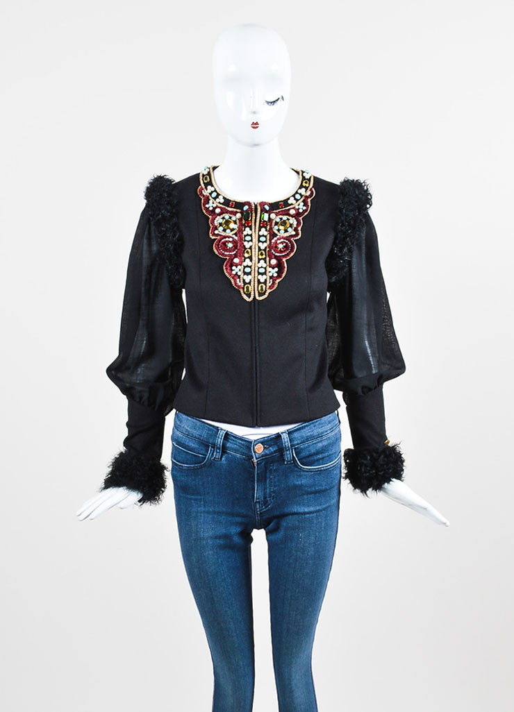 Black and Multicolor Chanel Cashmere and Lamb Fur Trim Bead Embellished Jacket Frontview 2