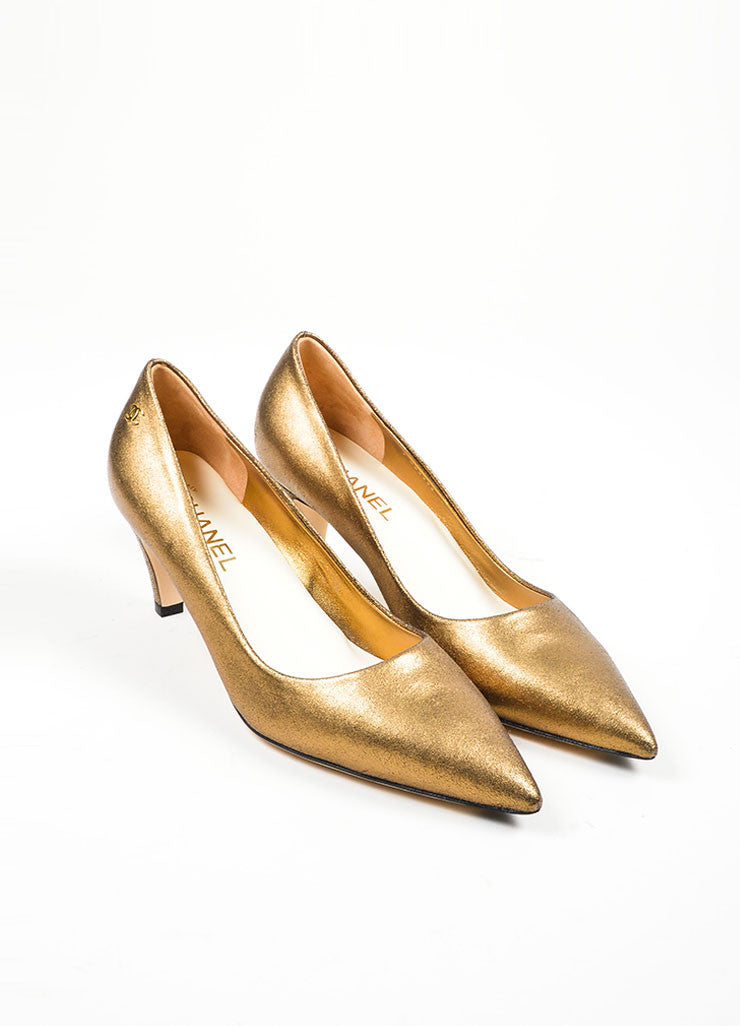 Bronze Chanel Leather Metallic Foil 'CC' Pointed Pumps Front