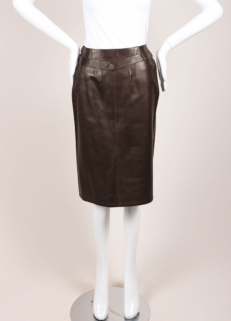 Chanel Brown Leather Wrap Skirt Frontview