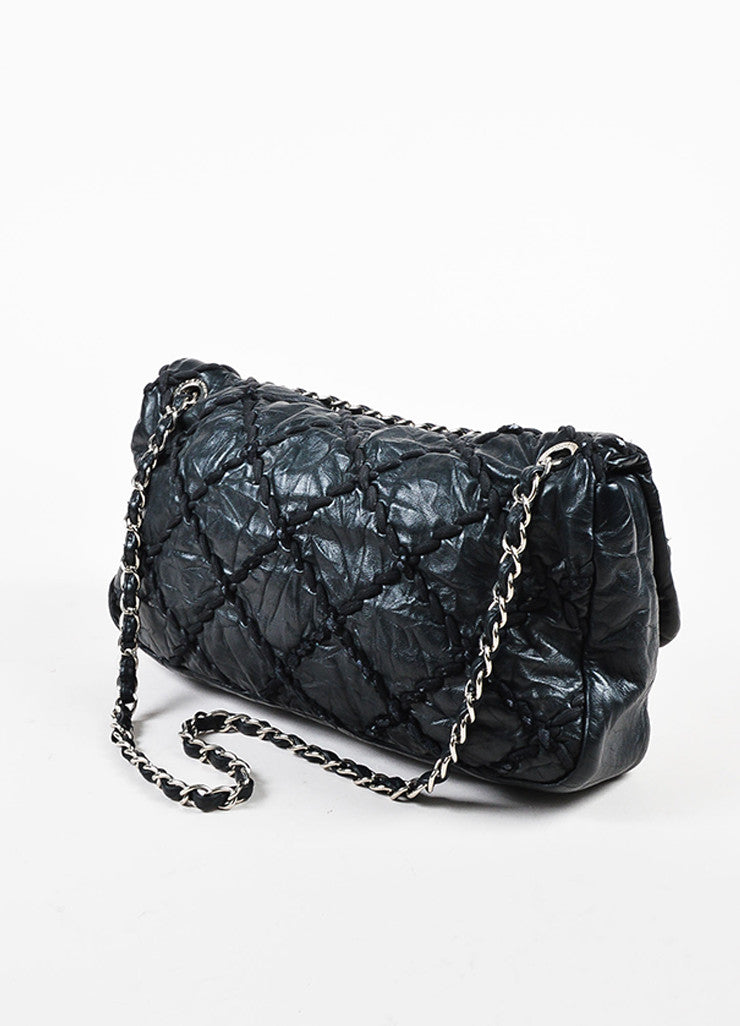 "Chanel Black Crinkled Leather Silver Toned Chain ""Ultra Stitch Jumbo Flap"" Bag Sideview"