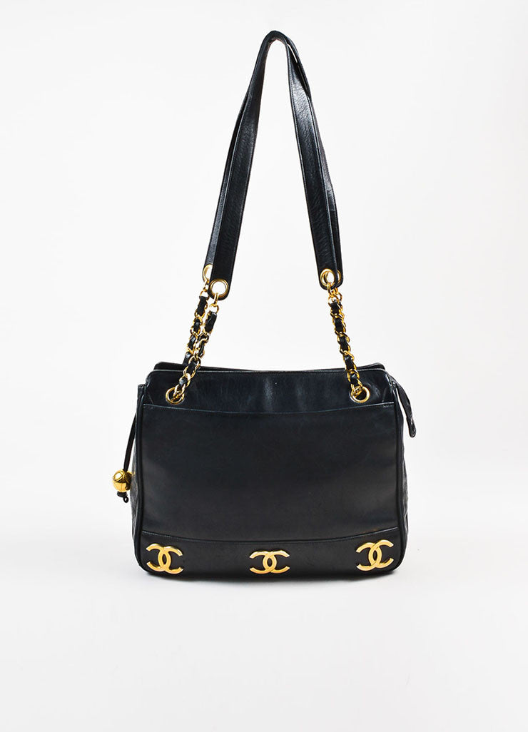 Chanel Black Leather 'CC' Logo Double Strap Shoulder Bag Frontview