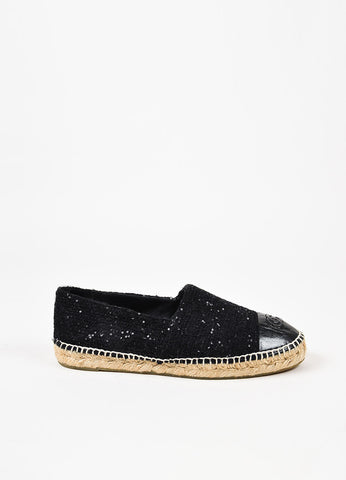 Chanel Black Leather and Tweed Sequined 'CC' Cap Toe Espadrille Flats Sideview
