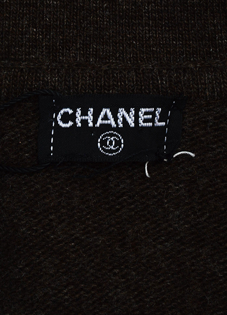 Chanel Brown Woven Knit Opaque 'CC' Button Sweater Cardigan Brand