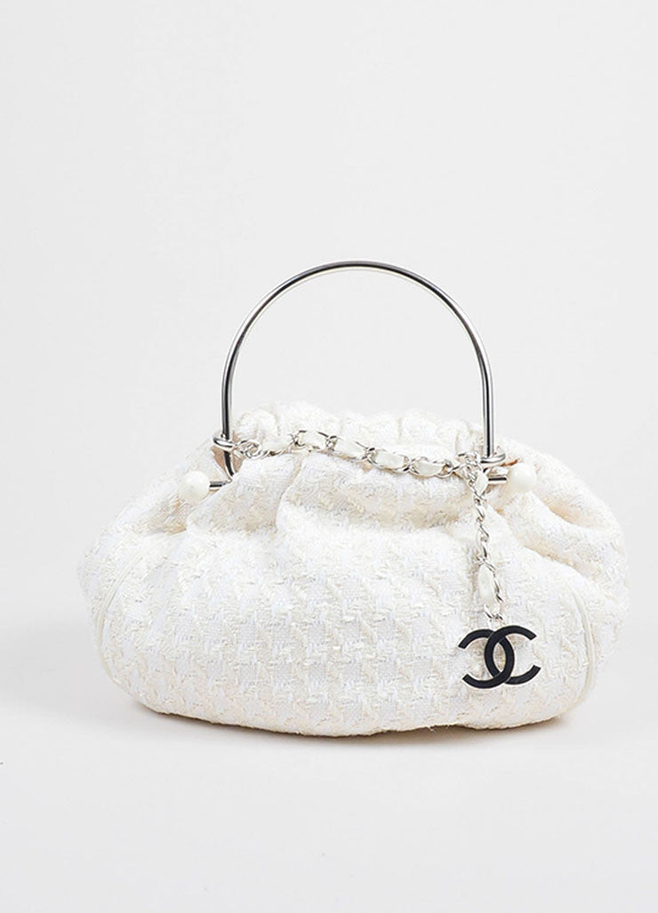 Chanel Cream Tweed Boucle Knitting Satchel Metal Chain Handle Bag Frontview