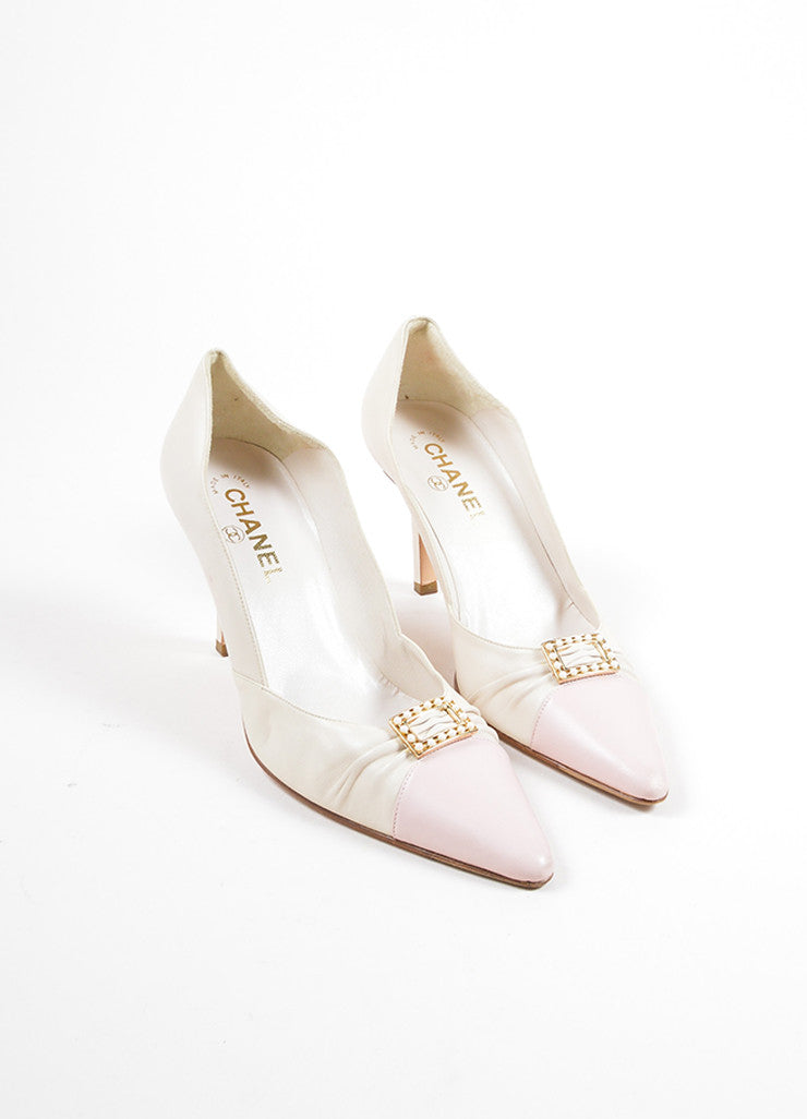 Chanel Pink and Cream Leather Faux Pearl Buckled Ruched Pointed Toe Pumps Frontview