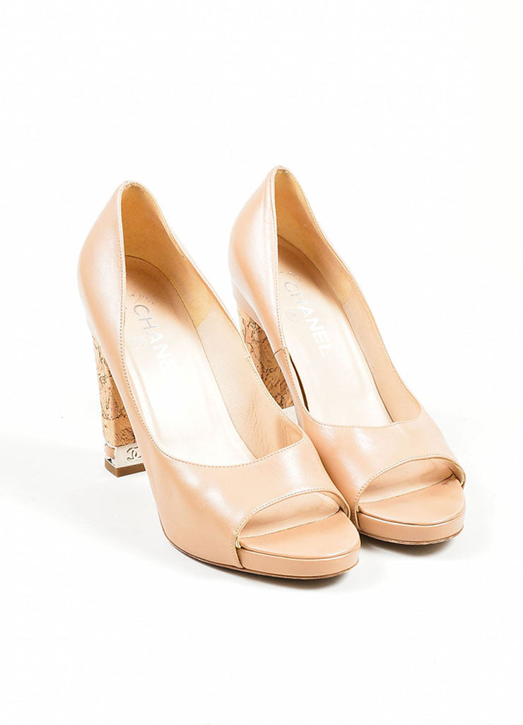 Tan Chanel Leather Chain Trim 'CC' Cork Heel Pumps Frontview