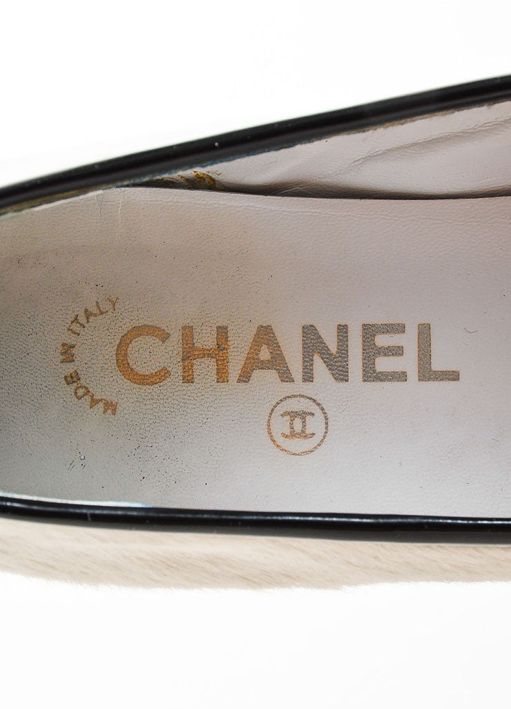 White and Black Chanel Pony Hair Cap Toe Ballet Flats Brand