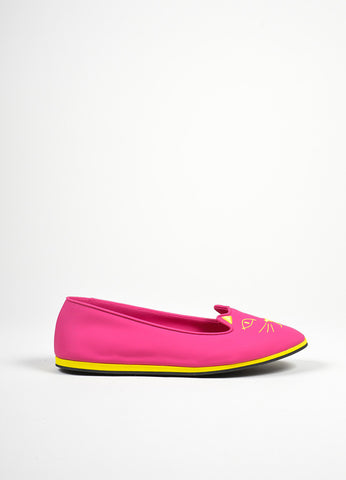 "Bubblegum Pink and Yellow Charlotte Olympia Rubber ""Capri Cats"" Flats Sideview"