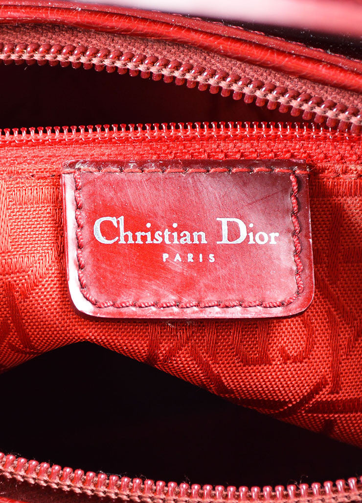 "Christian Dior Maroon Patent Leather ""Malice"" Tote Bag With Shoulder Strap Brand"