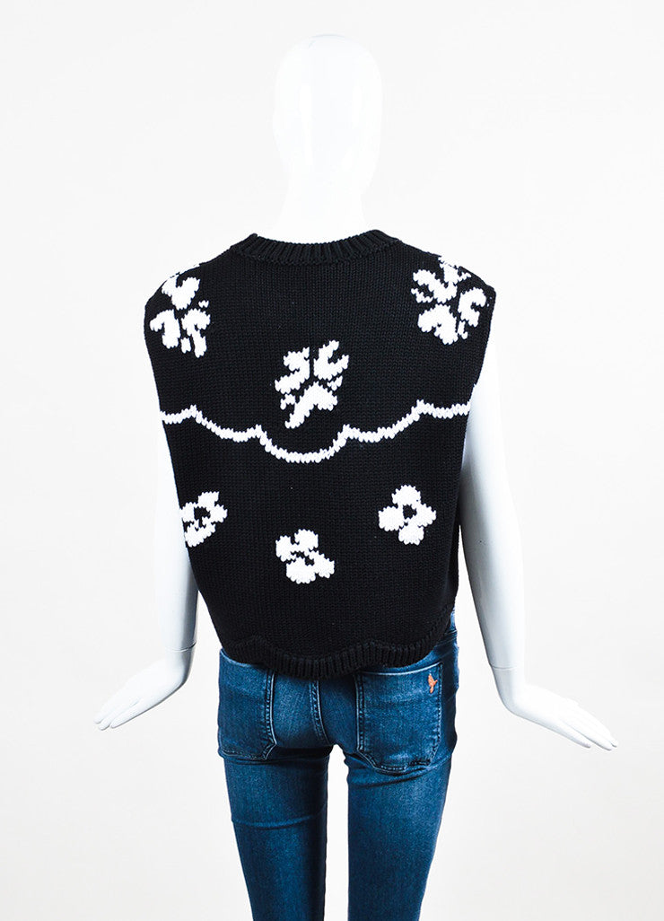 Black and White Christian Dior Floral Cropped Sleeveless Sweater Back