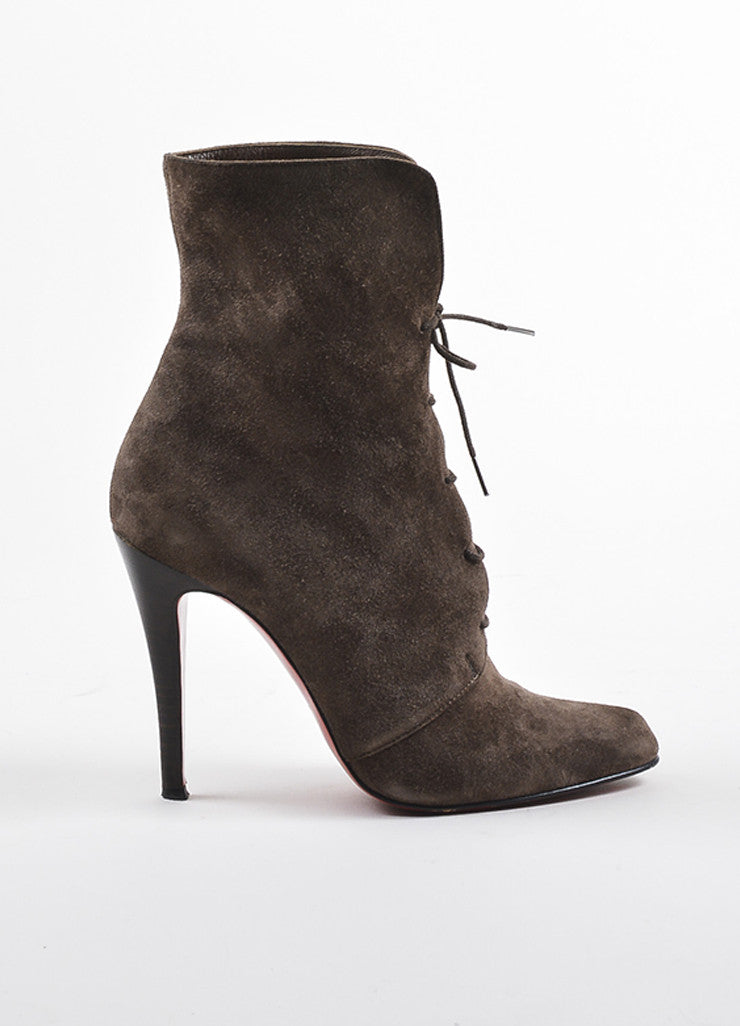 Christian Louboutin Brown Suede Lace Up Mid Calf Stiletto Boots Sideview