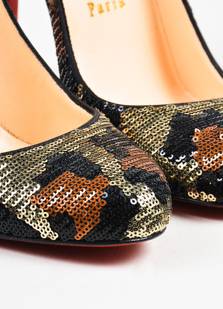 "Christian Louboutin Silver, Black, and Brown Sequin Leopard ""Fifi 100"" Pumps  Detail"