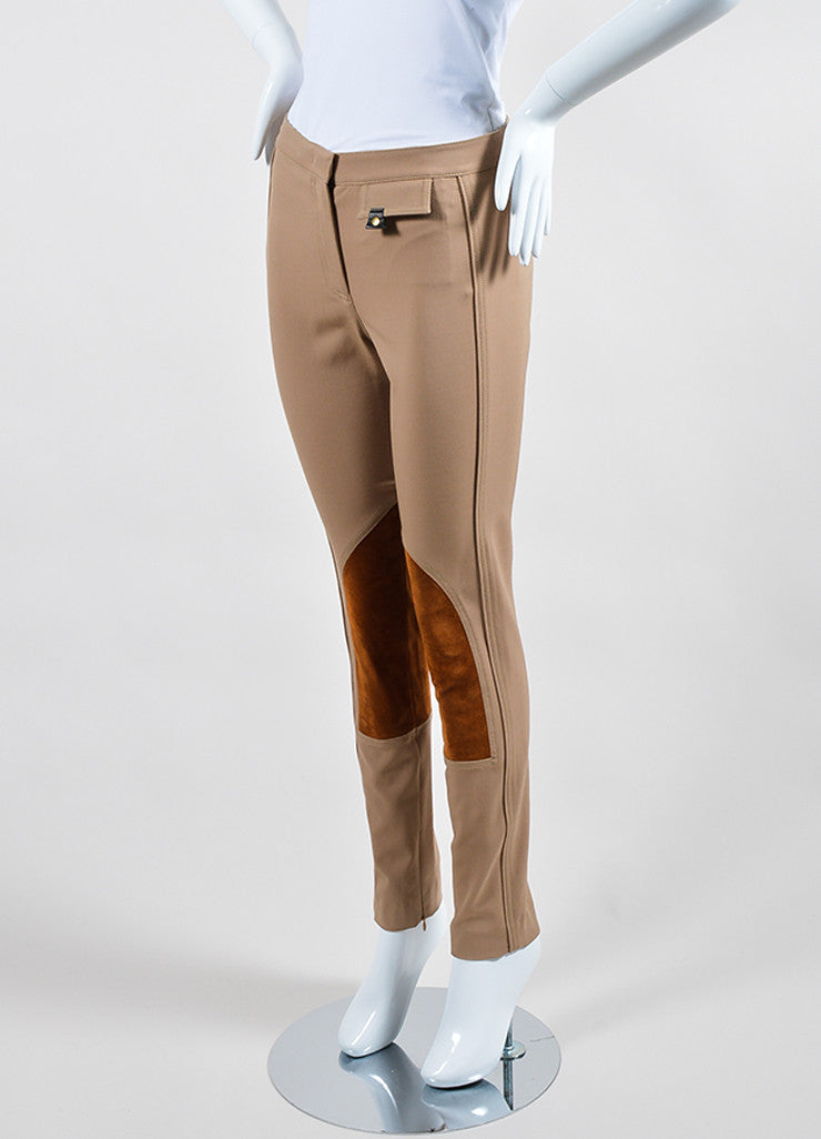 "Tan Derek Lam Camel Wool Suede Panel ""Jodphur"" Riding Pants Sideview"