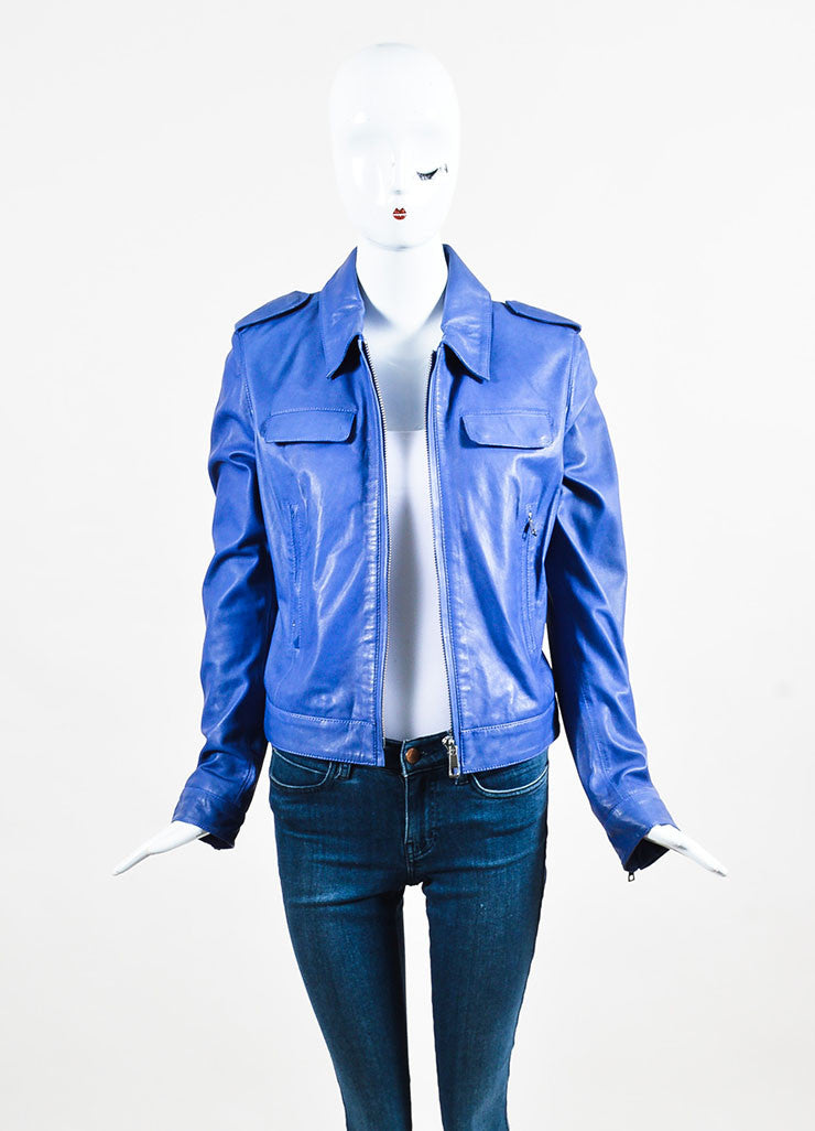 Each x Other Blue & Purple Zipped Leather Jacket front open