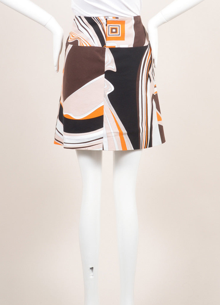 Emilio Pucci Orange, Black, and Multicolor Cotton Abstract Print Short Skirt Backview