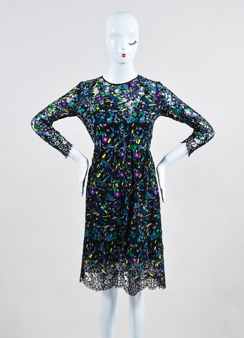 "Erdem Black and Multicolor Lace Floral Embroidered Long Sleeve ""Merik"" Dress Frontview"