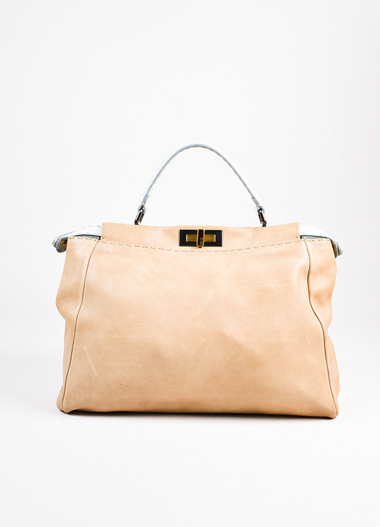 "Fendi Selleria Tan and Light Mint Green Leather ""Large Peekaboo"" Bag Frontview"