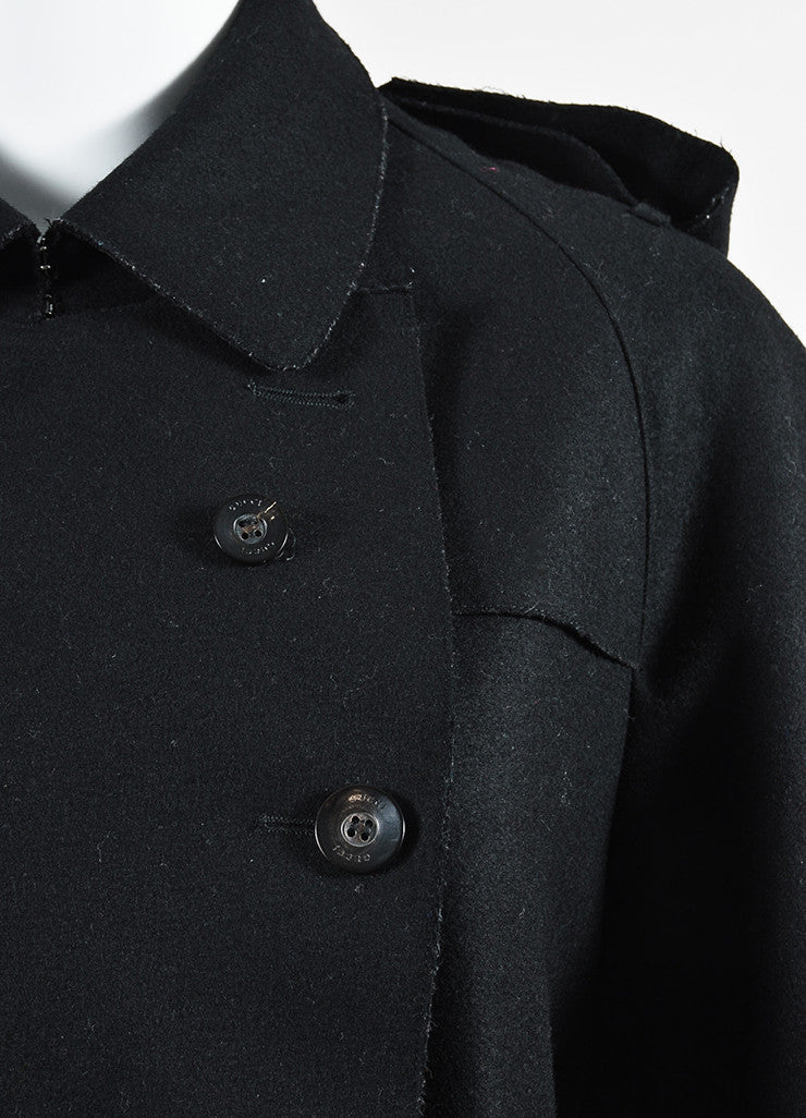 Gucci Black Wool Double Breasted Button Up Belted Trench Coat Detail