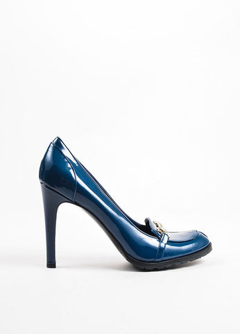Gucci Blue Patent Leather High Heel Horsebit Loafer Pumps Sideview