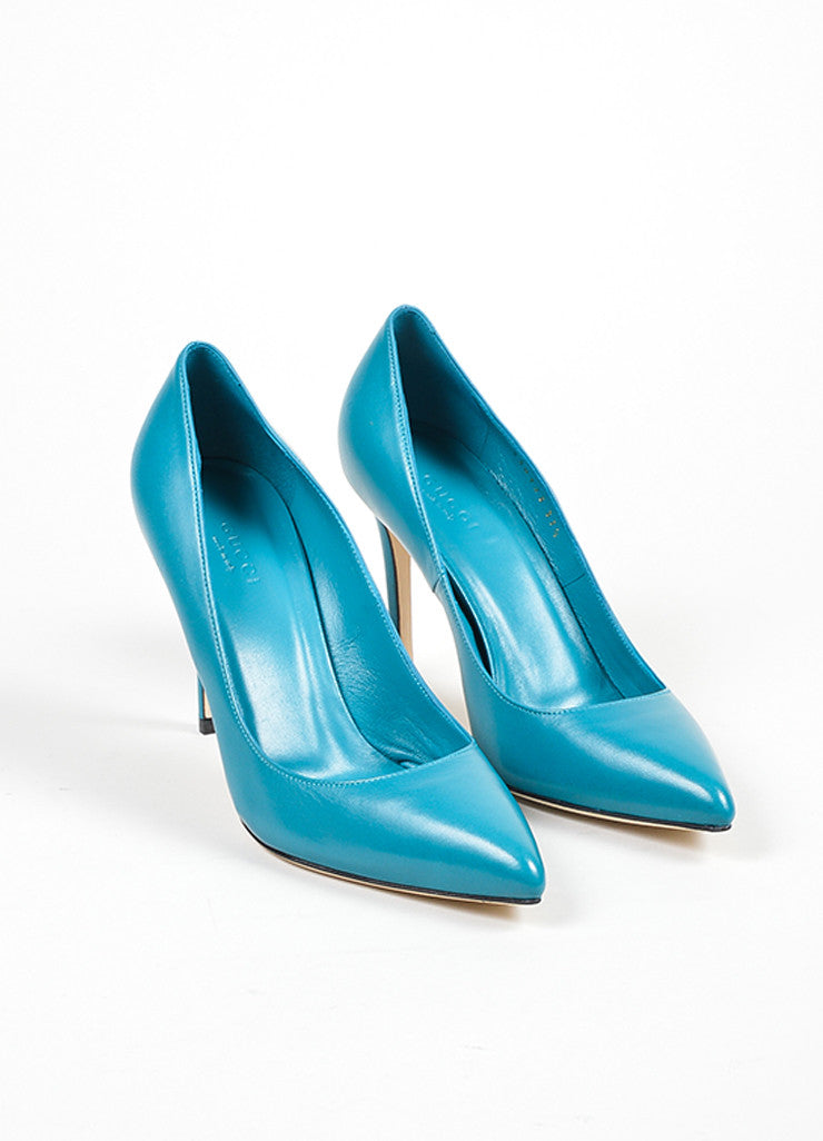 "Gucci Deep Cobalt Leather Pointed Toe ""Brooke 95mm"" Pumps Frontview"