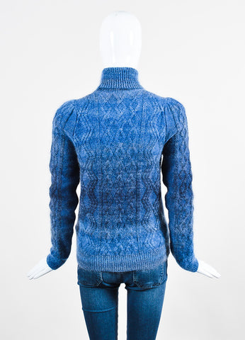 Blue Gucci Mohair, Silk, and Wool Cable Knit Turtleneck Sweater Backview