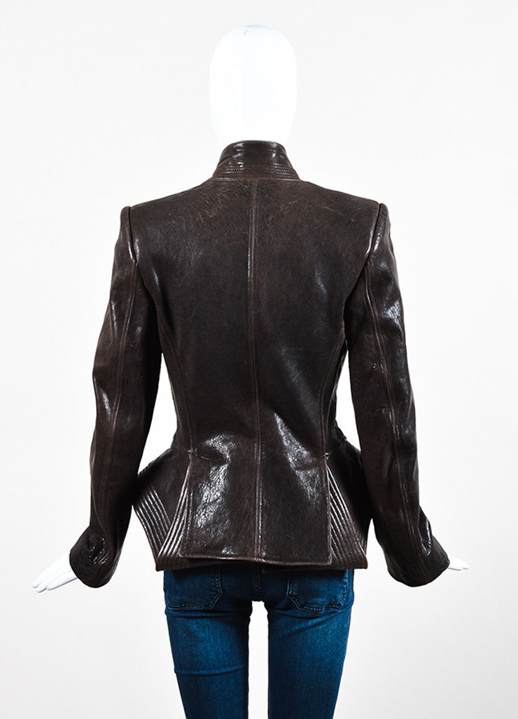 Haider Ackermann Brown Distressed Leather Exaggerated Peplum Jacket Backview