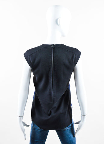 Helmut Lang Black and Navy Blue Pony Hair and Wool Sleeveless Top Backview