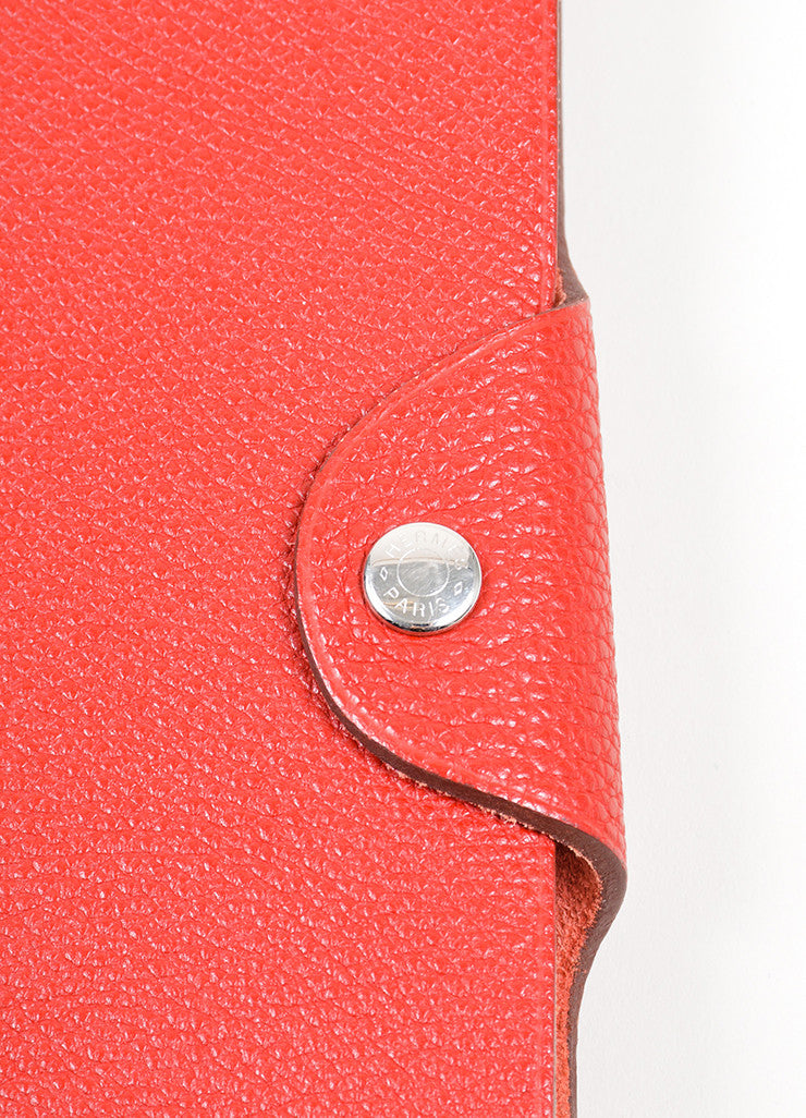 "Red Togo Leather Hermes ""Ulysse MM"" Snap Agenda with Paper Detail 2"