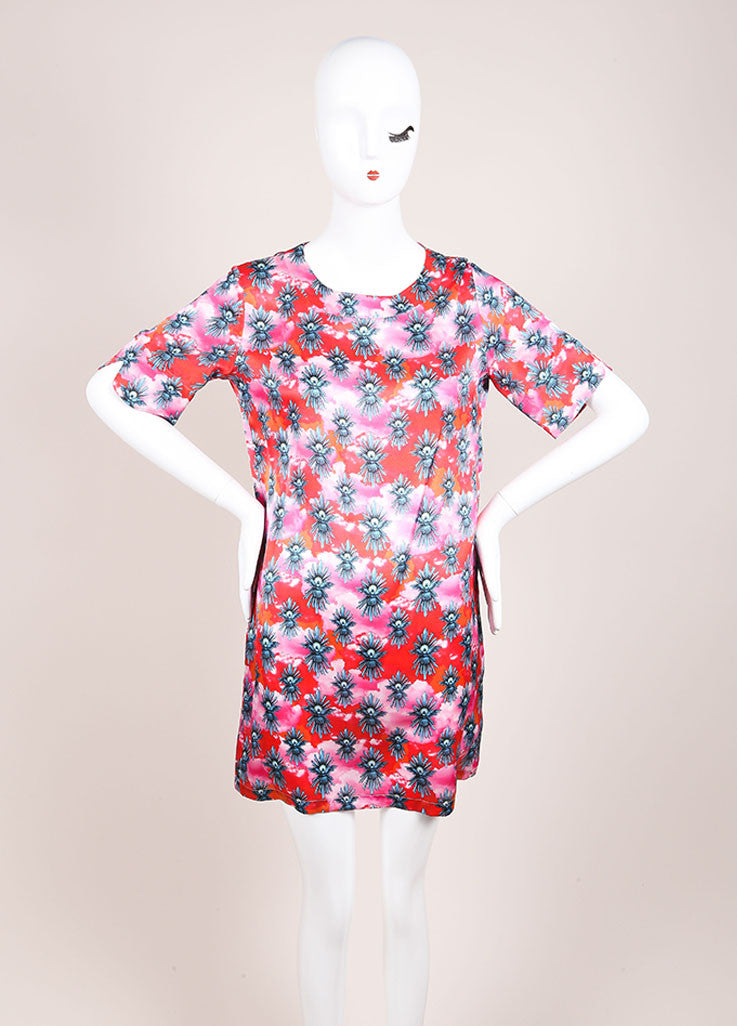 House of Holland New With Tags Red and Pink Dove Graphic Print Short Sleeve Dress Frontview
