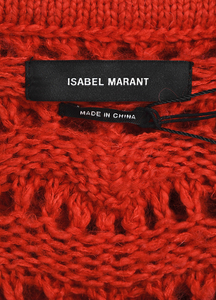 "Red Isabel Marant Crochet Knit ""Guetty"" Sweater Brand"