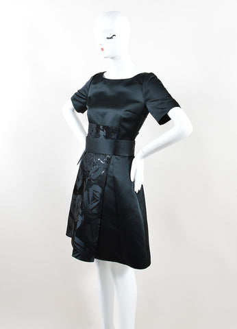 Jil Sander Navy Black Satin Embellished Skirt A-Line Short Sleeve Dress Sideview