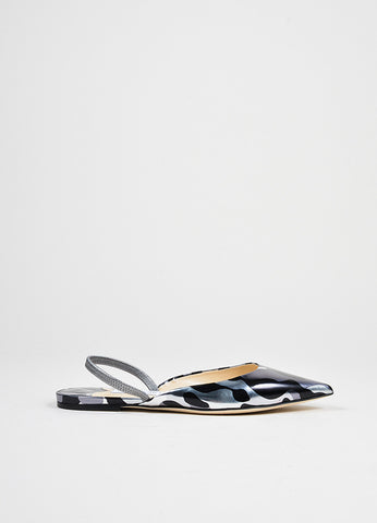 Black and Silver Camouflage Metallic Jimmy Choo Leather Flats Sideview