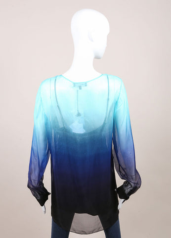 "Jonathan Saunders New With Tags Blue and Black Silk Chiffon Ombre ""Curzon"" Blouse Backview"
