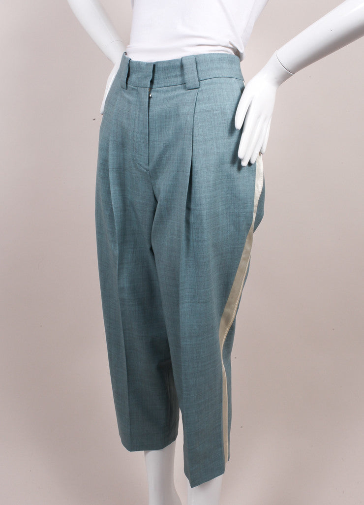"Jonathan Saunders New With Tags Blue and Cream ""Nadine"" Ankle Tux Trousers Sideview"