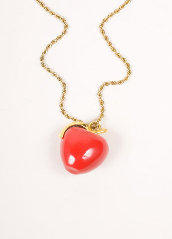 Kenneth Jay Lane Gold Toned and Red Chain Crystal Embellished Apple Pendant Necklace Detail