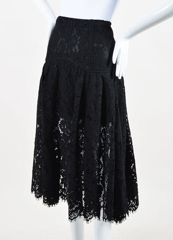 Veronica Beard Black Lace Cotton Scalloped Edge Flare Skirt Sideview