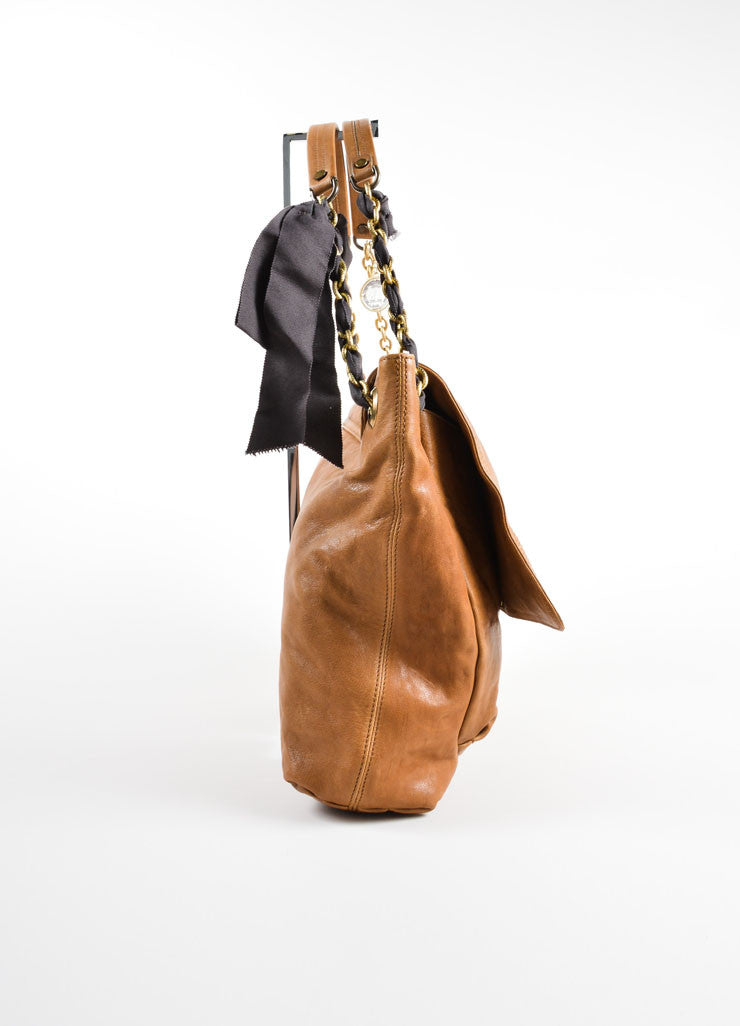 "Lanvin Brown Grained Chevre Leather Bow Chain ""Happy"" Shoulder Bag Sideview"