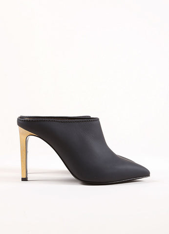 Lanvin Black and Gold Toned Leather Pointed Toe Stiletto Mules Sideview