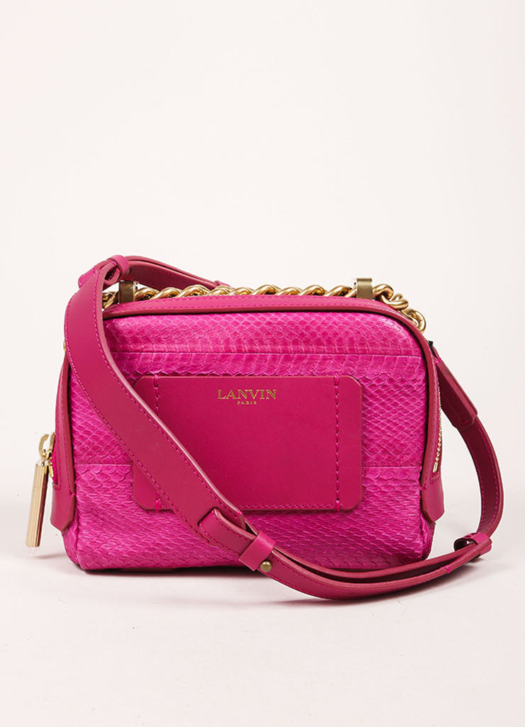 "Lanvin NWT $1890 Fuchsia Snakeskin Leather ""Mini Padam"" Shoulder Bag Frontview"