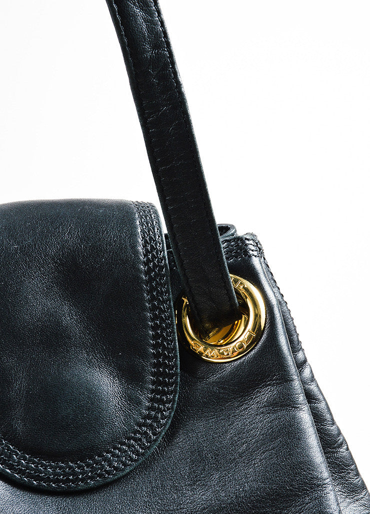 Black and Gold Toned Loewe Calf Leather Crossbody Drawstring Bucket Bag Detail 2