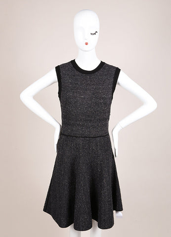 Louis Vuitton Black and Grey Silk Tweed Knit Sleeveless Flare Dress Frontview