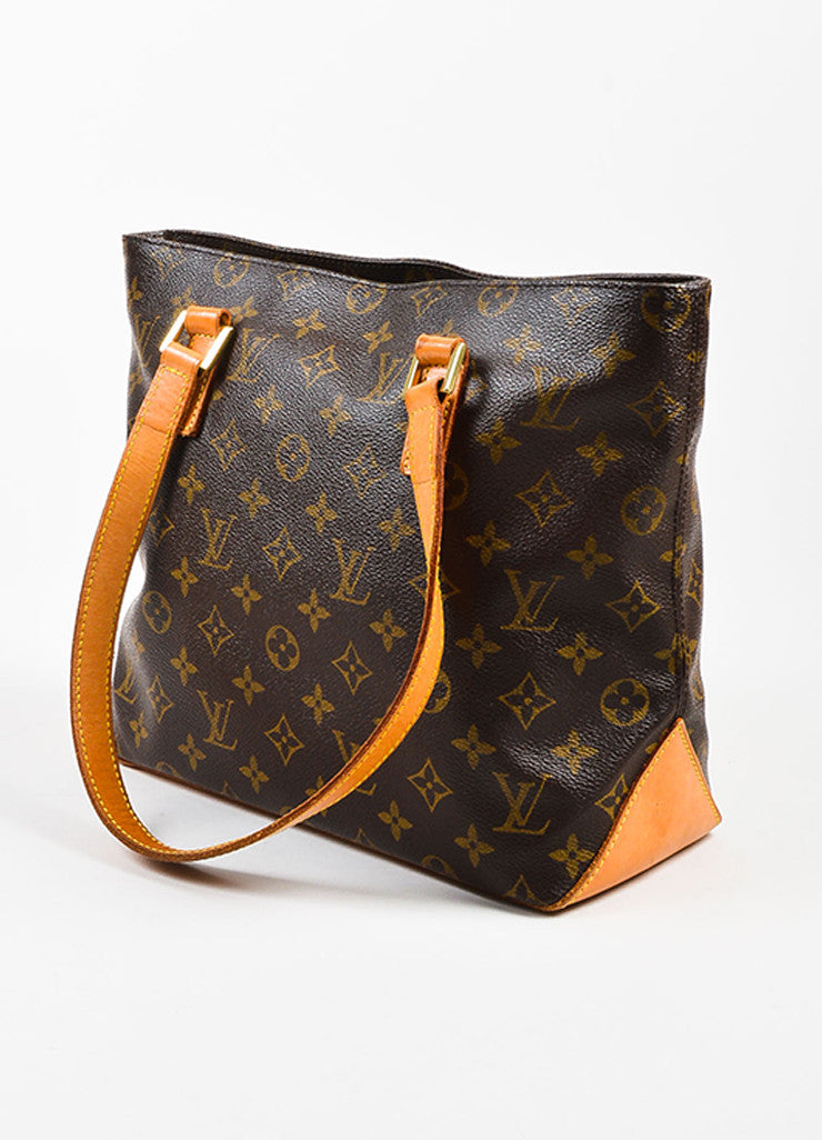 "Louis Vuitton Brown Monogram Coated Canvas ""Cabas Piano"" Bag Sideview"