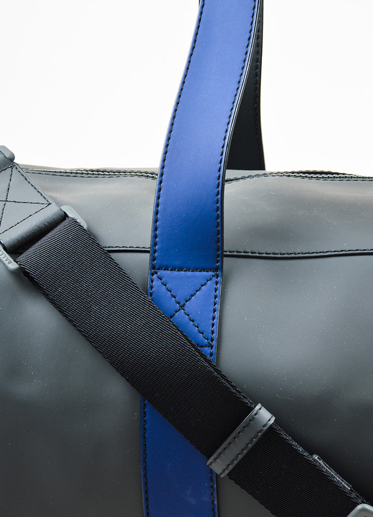 "Men's Bally Grey and Blue Rubberized Leather ""Sirtaki"" Travel Duffel Bag Detail 2"