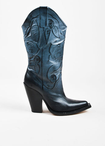 Maison Martin Margiela Two Tone Blue and Black Leather Rose Embossed Boots Sideview
