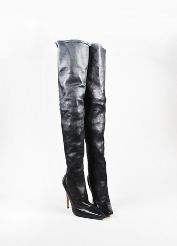 å´?ÌÜManolo Blahnik Black Leather Lattice Back Thigh High Stiletto Boots Frontview
