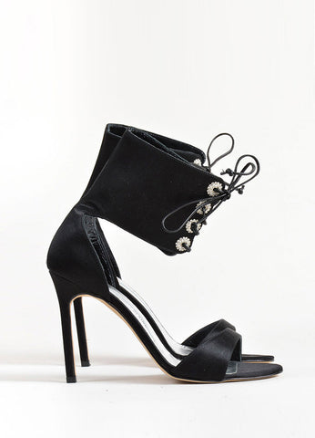 Manolo Blahnik Black Satin Rhinestone Lace Up Ankle Cuff Heels Sideview