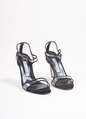 "Manolo Blahnik Black Suede and PVC ""Fersen"" Heeled Sandals Frontview"